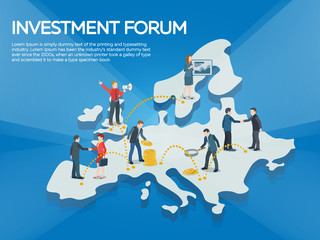 Business startup work moments flat banner. People on the europe map 3d. New ideas, search for investor, increased profits. Business situation. Businessman and businesswoman enter into a contract