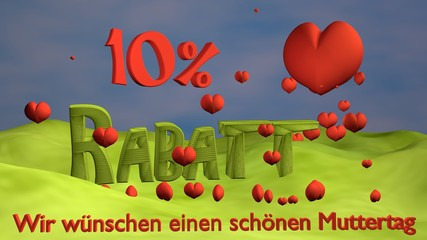 """3d Illustration zum Muttertag mit Herzen und dem Schriftzug 10% Rabatt sowie """"Wir wünschen einen schönen Muttertag""""."""