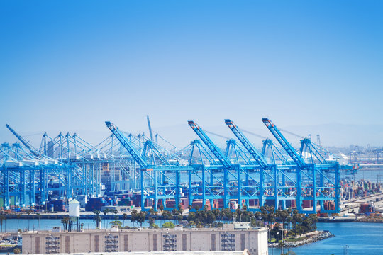 Long Beach shipping and container port with cranes