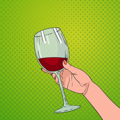 Hand Holding Glass Of Red Wine Pop Art Retro Pin Up Background Vector Illustration