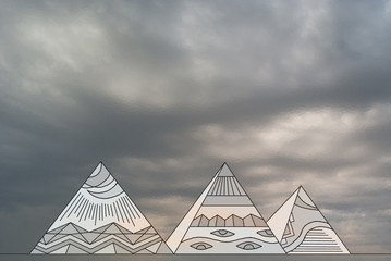 Drawing of the Egyptian pyramids