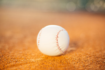 Baseball ball on playing field