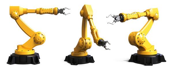 Verschiedene Industrie Roboter isoliert, weißer Hintergrund