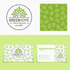 Green home logo set consisting of emblem, pattern and cards for natural product market, organic shop, ecology company, green unity, nature firm, garden, farming, forest. Vector Illustration