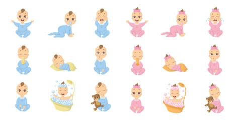 Baby emoji set. Funny cute cartoon character on white background.