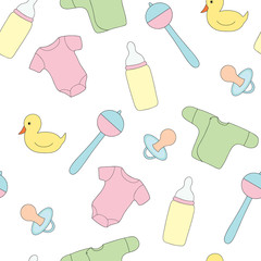 Seamless pattern from toys and clothes for the kid. A vector picture a rattle, a pacifier, a baby's dummy .