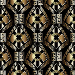 Modern geometric seamless pattern. Black vector background wallpaper illustration with gold 3d greek key, circles, rhombus, geometric shapes, figures and vintage abstract  ornaments.Surface 3d texture