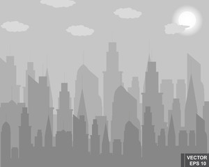 Modern city. Silhouette. Gray. Clouds. Bad weather. For your design.