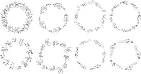 Vintage floral frames. Elements for decoration on white background. Round frames.