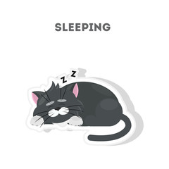 Cute sleeping cat. Isolated cute sticker on white background.