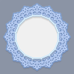 3D round frame for a photo or picture, vignette with ornaments, lace border,  bas-relief ornament,  openwork  pattern, template greetings, vector