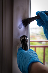 Forensic experts  finds fingerprints on the window