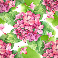 Seamless pattern with watercolor pink hydrangea