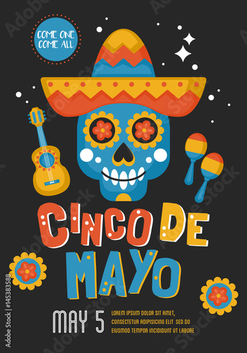 cinco de mayo mexican holiday banner poster and party invitation