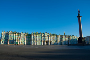 winter palace and alexander column in st. petersburg