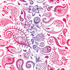 Vector pattern. Seamless detailed flowers illustrations. Doodle style, spring floral background.