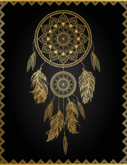 Golden dreamcatcher, vector illustration