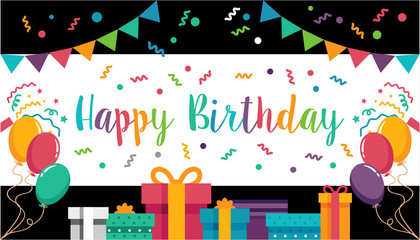 colorful happy birthday wallpaper/ banner/ Announcement / poster / flyer / greeting card
