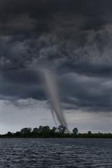 Tornado Touching Down Near Lake