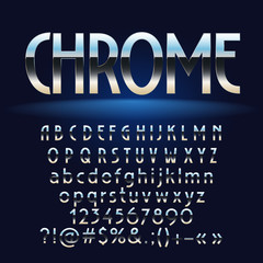 Vector set of chrome letters, numbers and symbols. Contains graphic style