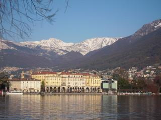 lake and mountain. winter lake city