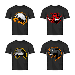 Furious boar, wolf, panther and eagle head sport vector logo concept set isolated on black t-shirt mockup.  Modern team badge design. Premium quality wild animal t-shirt tee print illustration.