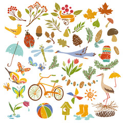 Hand drawn Set of Cute Drawings on Nature and Seasons