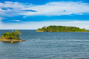 Two islands in front of the port of Puerto Limon - Costa Rica