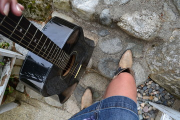 Walking up The steps with my guitar