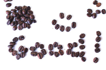 Coffee beans shape on white background.