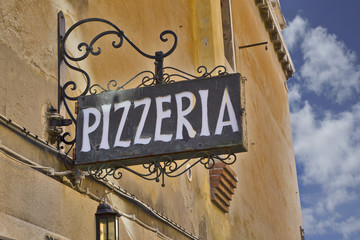 The name of the restaurant is Pizzeria.