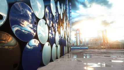 Barrels of oil near petrol plant, refinery. 3d rendering.