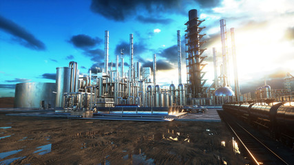 Refinery. Oil, petrolium plant. Metal Pipe. 3d rendering.