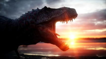 Dinosaur. Prehistoric period, rocky landscape. Wonderfull sunrise. 3d rendering.