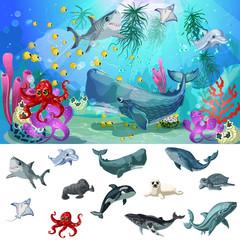 Cartoon Sea And Ocean Fauna Concept