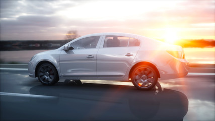 Luxury white car on highway, road. Very fast driving. Wonderfull sunset. Travel and motivation concept. 3d rendering.