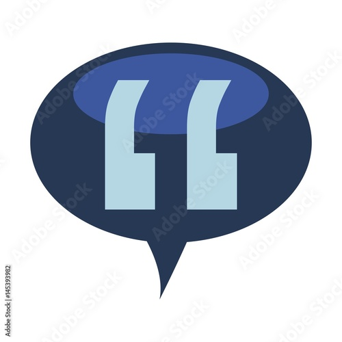 Speech Bubble With Quotation Marks Icon Over White Background