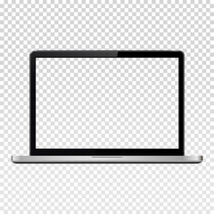 Laptop with transparent screen isolated on transparent background