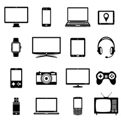 Electronic gadgets icons