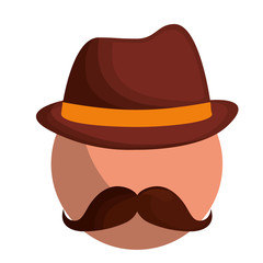 man with mustache and hat icon over white background. vector illustration
