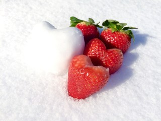 Strawberry and Snow Hearts