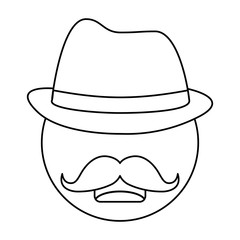 man with hat and mustache icon over white background. vector illustration