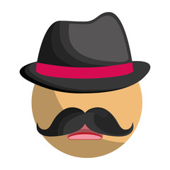 man with hat and mustache icon over white background. colorful design. vector illustration