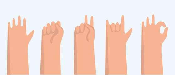 Set of 11 hand gestures on white. Vector illustration