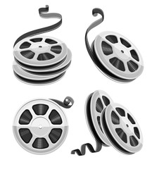 Movie video reel film disks with tape isolated. Set