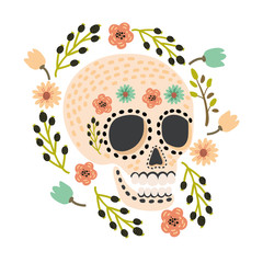 Mexican Day of the Dead sugar skulls. Cute and modern flat vector illustration.