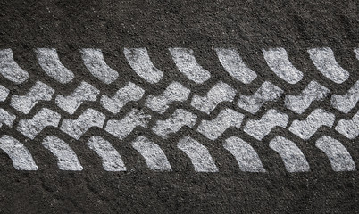 White Painted Tyre Track