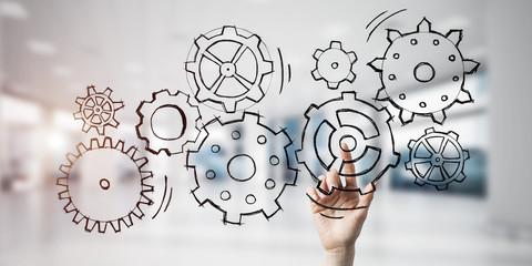 Teamwork concept and choosing gesture of businessperson in elega
