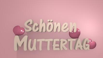 Muttertagsgruß als 3d Illustration mit Herzen in Cremeweiß auf rosa hintergrund