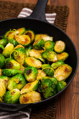 Poster Brussels Brussels Sprouts Cabbage With Lemon. Selective focus.